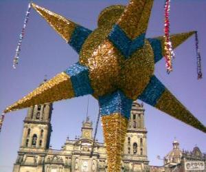 Rompicapo di La Pignatta tradizionale in Messico a Natale, una stella a nove punte, la stella di Betlemme