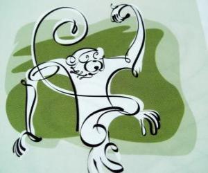 Rompicapo di La scimmia, segno della Scimmia, l'anno della Scimmia in astrologia cinese. Il nono dei dodici animali dil ciclo di 12 anni dello zodiaco cinese
