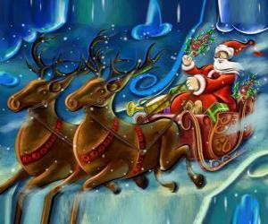 Rompicapo di La slitta piena di doni volare con Babbo Natale e le renne magiche