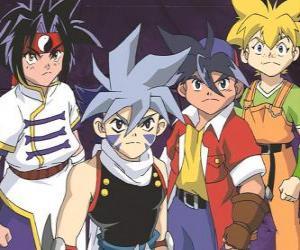 Rompicapo di La squadra di Bladebreakers, Tyson Granger, Kai Hiwatari, Ray Kon e Max Tate