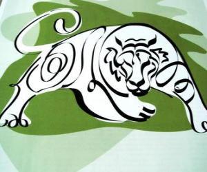 Rompicapo di La tigre, il segno della tigre, l'Anno della Tigre. Il terzo segno dei dodici animali dello zodiaco cinese