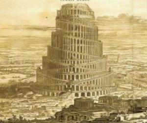 Rompicapo di La Torre di Babele in cui gli uomini hanno cercato di raggiungere il cielo