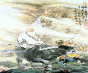 Rompicapo di Laozi, Lao Tse o di Lao-Tzu, filosofo della Cina antica, figura centrale del Taoismo, cavalcando un bufalo