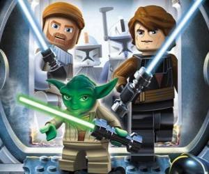 Rompicapo di Lego Star Wars: Yoda, Luke Skywalker, Obi-Wan Kenobi