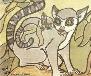 Rompicapo di Lemure con il suo bambino. Disegno di Julieta Vitali