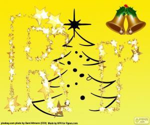 Rompicapo di Lettera R con sfondo di Natale