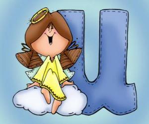 Rompicapo di Lettera U con un angelo