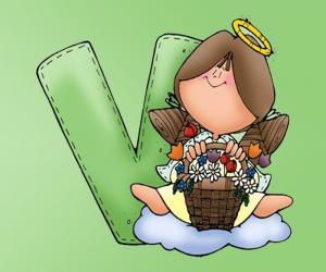 Rompicapo di Lettera V con un angelo