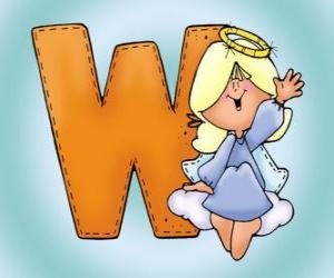 Rompicapo di Lettera W con un angelo