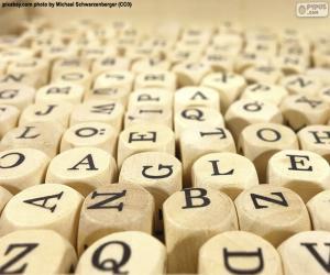 Rompicapo di Lettere cubiche in legno