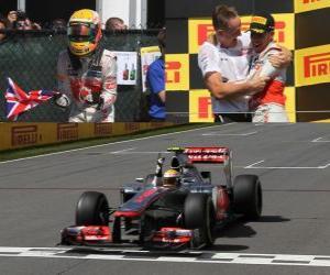 Rompicapo di Lewis Hamilton celebra la sua vittoria nel Gran Premio del Canada (2012)