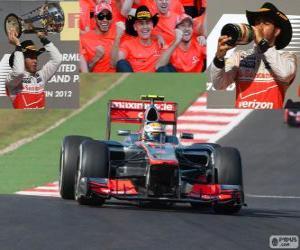 Rompicapo di Lewis Hamilton festeggia la vittoria del Grand Prix di Stati Uniti 2012