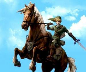 Rompicapo di Link a cavallo con una spada in le avventure di The Legend of Zelda videogioco