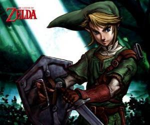 Rompicapo di Link con la spada e scudo nelle avventure di The Legend of Zelda videogioco
