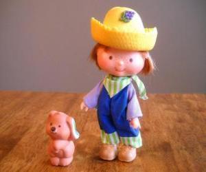 Rompicapo di Lino Mirtillo giocando con il suo cane da compagnia Pupcake. E è uno dei amici di Fragolina Dolcecuore