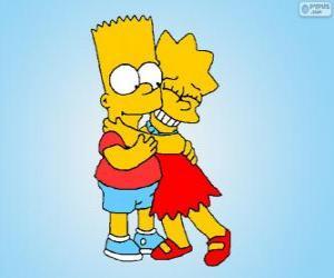 Rompicapo di Lisa e Bart abbracciato come buoni fratelli