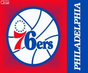 Rompicapo di Logo Philadelphia 76ers, Sixers, squadra NBA. Atlantic Division, Eastern Conference