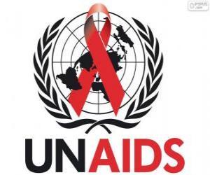 Rompicapo di Logo UNAIDS. Programma delle Nazioni Unite per l'AIDS / HIV
