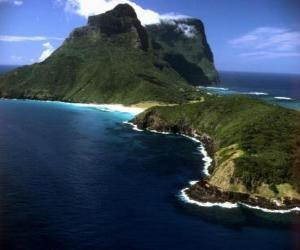 Rompicapo di Lord Howe Islands, questo arcipelago è un esempio di generare una serie di isole oceaniche isolate da attività vulcanica sottomarina. Australia.