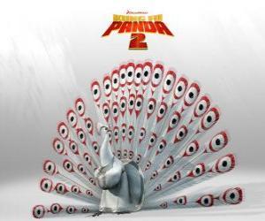 Rompicapo di Lord Shen, un pavone albino è il nemico principale nelle avventure del film Kung Fu Panda 2