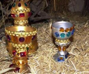 Rompicapo di Loro doni dei Re Magi, oro, incenso e mirra al Bambino Gesù