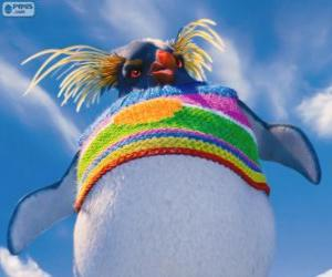 Rompicapo di Lovelace, un pinguino strano con un maglione di lana colorata, Happy Feet 2