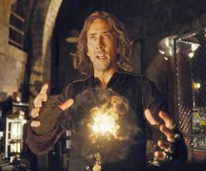 Rompicapo di Mago o stregone con il fuoco magico