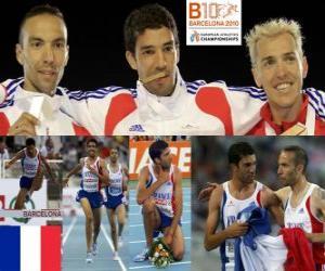 Rompicapo di Mahiedine Mekhissi-Benabbes campione 3000 m siepi, Bouabdellah Tahri e Jose Luis Blanco (2 ° e 3 °) di atletica leggera Campionati europei di Barcellona 2010