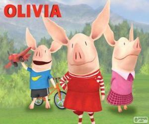 Rompicapo di Maiale Olivia con i suoi fratelli William e Ian