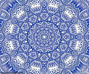 Rompicapo di Mandala del fiore blu