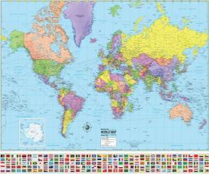 Rompicapo di Mappa con i confini dei paesi del mondo