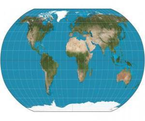 Rompicapo di Mappa della terra. Mappa con la proiezione di Robinson che permette la rappresentazione di tutto il mondo