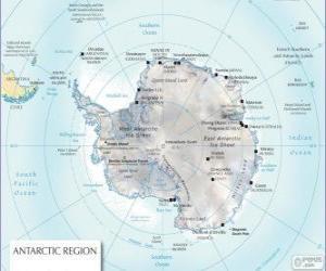 Rompicapo di Mappa dell'Antartide. Il polo sud è sul continente antartico