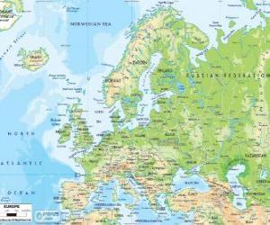Rompicapo di Mappa dell'Europa. Il continente europeo si estende attraverso la Russia ai monti Urali