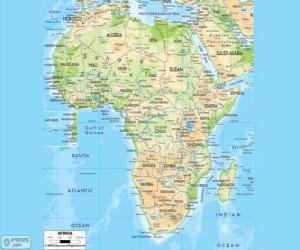 Rompicapo di Mappa di Africa. Il continente africano si trova tra gli oceani Atlantico, Indiano e Pacifico. Inoltre confina con il Mar Mediterraneo e Mar Rosso