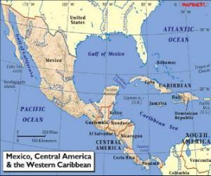 Rompicapo di Mappa di Messico e America centrale. America centrale, subcontinente che collega il Nord America e Sud America