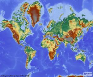 Rompicapo di Mappa di mondo con rilievo