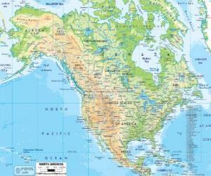 Rompicapo di Mappa di Nord America. Nord America comprendente i paesi di Canada, Stati Uniti e Messico