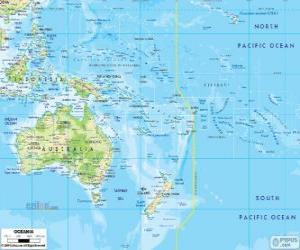 Rompicapo di Mappa di Oceania. Continente formato da Australia e altre isole e arcipelaghi dell'Oceano Pacifico