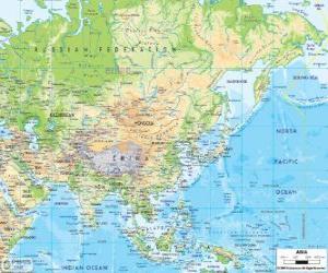 Rompicapo di Mappa di Russia e Asia. Il continente asiatico è il più grande e più popoloso della terra