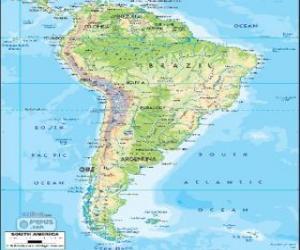 Rompicapo di Mappa di Sud America è la parte del continente americano posta a sud dell'America Centrale