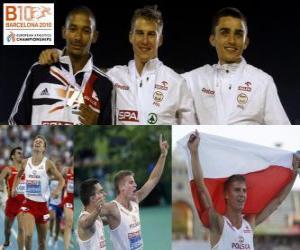 Rompicapo di Marcin Lewadowski campione 800 m, Michael e Adam Kszczot Rimmer (2 ° e 3 °) di atletica leggera Campionati europei di Barcellona 2010