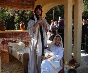 Rompicapo di Maria, Giuseppe e il bambino Gesù nella mangiatoia vivente