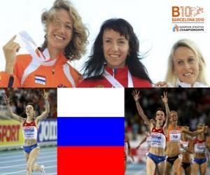 Rompicapo di Maria Savinov campione a 800 m, Yvonne Hak e Jennifer Meadows (2 ° e 3 °) del Barcellona Campionati europei di atletica leggera 2010