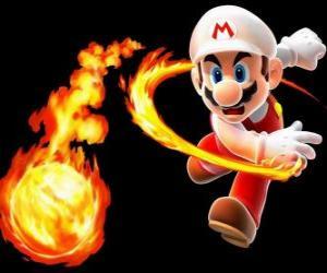 Rompicapo di Mario lanciando una palla di fuoco