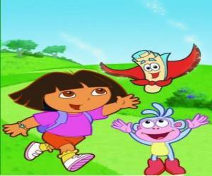 Rompicapo di Marquez Dora l'esploratrice, con i suoi migliori amici: Boots la Scimmia, Zainetto e Mappa