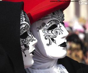 Rompicapo di Maschere classiche veneziane bianche