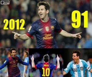 Rompicapo di Messi chiude il 2012 con 91 gol
