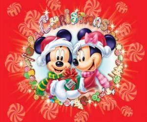 Rompicapo di Mickey Mouse e Minnie cappotto con cappello di Babbo Natale