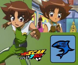 Rompicapo di Mitsuki Kaibara di Scan2Go, il potere di squalo gli dà una grande freddezza e crudeltà anche durante la competizione